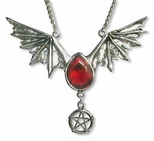 Gothic Bat Wings with Pentacle and Red Austrian Crystal Necklace NK-501R