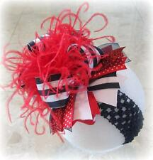 Nautical Stripes Over the Top Ostrich Feather Hair Bow Boutique Pageant Hairbows