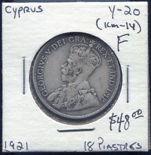 CYPRUS - BEAUTIFUL SCARCE GEORGE V 18 PIASTRES, 1921