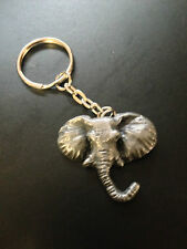 Elephant Head Pewter Effect Animal 3D Emblem On a Split Keyring Handmade