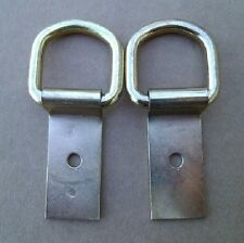 """2 Brass Heavy Duty Saddle Clip and Dee 1"""" D Ring 2"""" Clip Saddle Strings Tack"""