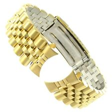 20mm Hadley Roma Curved End Stainless Gold Tone Link Buckle Watch Band