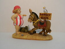 SEASIDE FAT LADY IN COSTUME WITH DONKEY  BATHROOM ORNAMENT NAUTICAL POSTCARD