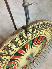 Vintage Rare Antique Folk Art Painted Game Chance Carnival Wheel Dice Spin Early