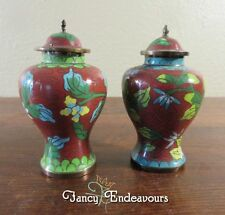 TWO Republic Period Chinese Enamel Cloisonne Miniature Covered Urns Vases
