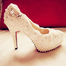 Handmade Ivory Beaded Lace Bridal Shoes Pearl Rhinestone Wedding Shoes UK 3-8