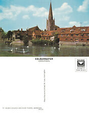 1960's St HELENS CHURCH & THE THAMES ABINGDON OXFORDSHIRE UNUSED COLOUR POSTCARD