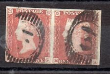 GB QV 1841 fine used imperf 1d Penny Red pair WS2526
