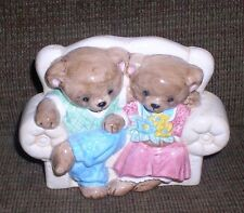 Mama & Papa Bear on Couch Ceramic Planter Baby Nursery Vase Mom Dad Mommy Daddy