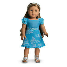 American Girl Kanani's Blue Velveteen PARTY OUTFIT Dress Sandals DOLL NOTinclude