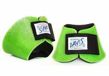 Davis Horse Boots Bell Hoof Leg Jumping Protection Lime Green Glitter Medium
