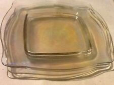 Clear Glass Square Dinner Plates Iridescent Glow (4) 10 Inch