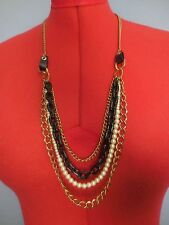 "A 31.5"" Gold-tone 4-Strand Necklace w/Multi-Size & Color Chains & Faux Pearls."