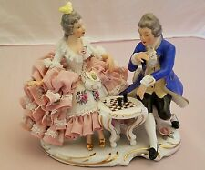 Dresden Lace Couple Playing Chess Excellent Condition