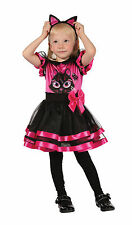 GIRLS TODDLER PINK & BLACK CAT DRESS & EARS BOOK WEEK COSTUME NEW AGE 2 - 3