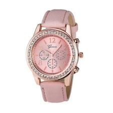 Fashion Geneva Watch Women Leather Band Stainless Steel Analog Quartz Wristwatch