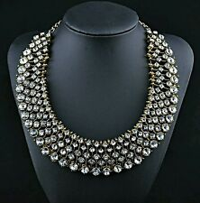 J Crew Zara Inspired Statement Chunky Bib Choker Crystal Rhinestone Necklace