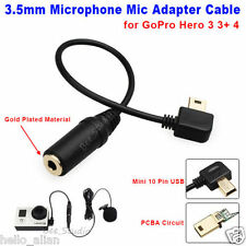 Mini USB to 3.5mm Microphone Adapter Cable for GoPro Hero 4 3+ 3 Sport Camera