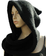 Made to Order Celtic Hooded Scarf Wrap Completed item in Black
