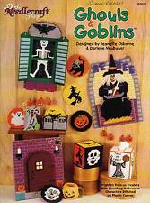 USED GHOULS & GOBLINS WITCH SKELETON PUMPKIN SKULL PLASTIC CANVAS PATTERN BOOK