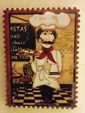 """1 RARE Fat Chef Magnet (2.5"""" x 3""""), Chef with Pizza, FREE SHIPPING from USA"""