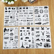 6Pcs Vintage Paper Stamp Diary Book Sticker Scrapbook Planner Label Decor DIY