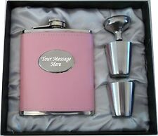 Engraved 7oz Pink Hip Flask Bride - Wife- Wife To Be Wedding Personalised Gift