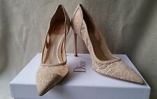 NIB Christian Dior Lingerie CD 39 9 Classic Lace Suede Pointy Toe Pump Shoe Heel