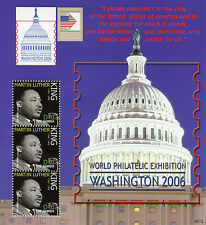 Gambia 2006 MNH Martin Luther King Philatelic Exhibition Washington 3v MS Stamps
