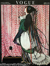 VOGUE Poster ART DECO Woman TASSLED Evening GOWN Vintage 1975 MATTED Picture