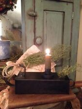 Primitive Early Look Metal Tinder Box Candle Holder Cupboard Tuck Rustic Cabin