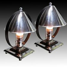 PAIR 1930s Chase Era Machine Age Deco Chrome & Black Accent Lamps * RESTORED