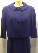 40s 'Bramson' Original Rich Blue Fitted Dress & Jacket with Large Button Detail