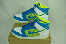 "New Mens 10 NIKE ""Dunk High Hi Top""Blue Fluoro Green Leather Basketball Shoes$85"