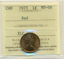 1975 Canada Small Cent, Red ICCS MS-66