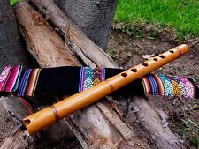 PROFESSIONAL NATIVE  AMERICAN STYLE FLUTE  & BAG  WOOD  TUNED  IN (G)  NEW