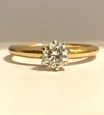 $6000.00 14K GOLD 0.46 CT SOLITAIRE WHITE NATURAL DIAMOND ENGAGEMENT RING, SZ 5