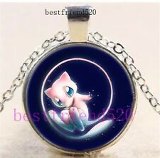 Pokemon Mew Photo Cabochon Glass Silver Chain Pendant Necklace US Seller