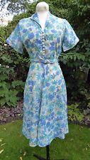 Original Vintage 1950's Blue Floral Nylon? Dress + Belt - Excellent cond. Small