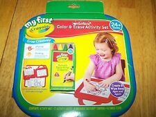 New Crayola My First Washable Color and Erase Activity Set Mat Sheets Crayons
