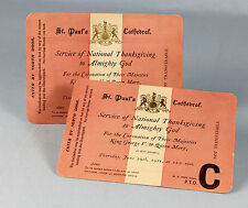 June 29th 1911 | PAIR original tickets to CORONATION Thanksgiving | at St Paul's