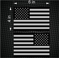 "2 Digital 6"" Subdued American Flag USA mirrored Vinyl Decals - Boat car sticker"