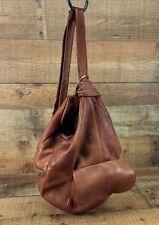 Pebbled Leather Bucket Handbag Distressed Purse Shoulder Sling Bag Brown