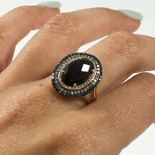 14K Rose Gold Cabochon Smokey Topaz with Champagne Black and White Diamond Ring