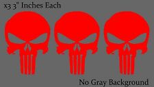 Punisher Skull Reflective Red Bumper Window Helmet Decal Stickers Pack Lot 3