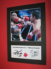 FLOYD MAYWEATHER JR & MANNY PACQUIAO BOXING A4 MOUNT SIGNED REPRINT AUTOGRAPHS