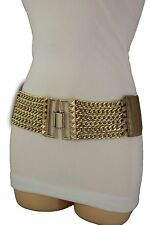 Fun Women Fashion Bronze Stretch Belt Hip High Waist Gold Metal Chain Buckle S M