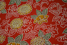 Japanese Wool Fabric Red with Yellow Flowers 1117