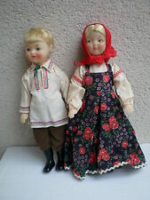 "Vintage USSR Male & Female 11"" Plastic Dolls Soviet Union Russian 80s with Tag"