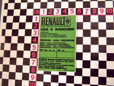 1970's Renault Factory Antifreeze Autocollant 12 14 16 17 5 4L 8 4 5 Dauphine